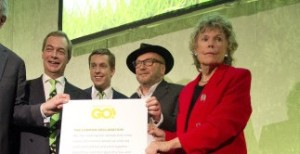 (L-R) David Campbell Bannerman, Peter Bone MP, Nigel Farage, Tom Pursglove, George Galloway, and Kate Hoey hold a declaration signed by Grassroots Out members at the Queen Elizabeth II Centre in Westminster, central London, on the day when David Cameron is in Brussels for crucial summit on his EU reform demands.