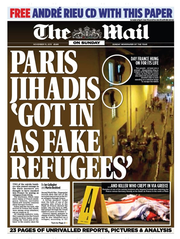 Image result for fake refugees paris bomb daily mail